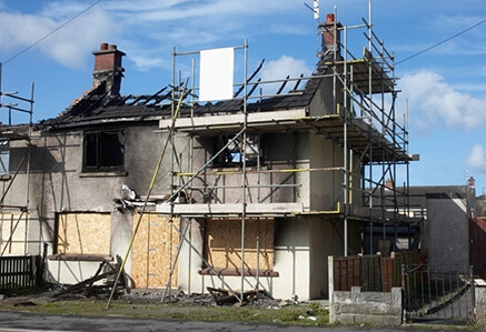 Image Of Fire And Smoke Damage Restoration In Progress - Sure Kleen Restoration Services