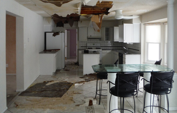 Image Of Home With Water Damage For Cleanup And Repair Company - Sure Kleen Restoration Services